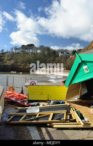 Seafront beach hut wrecked by stormy weather. - Stock Photo