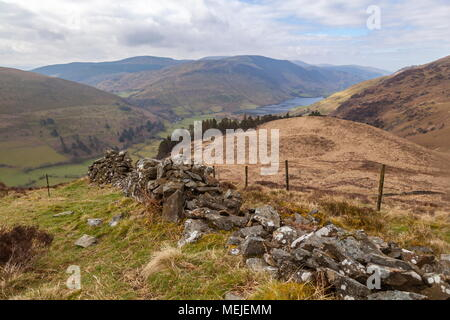 A view of Tal-Y-Llyn lake seen from the pathway that leads to the summit of Mynydd Moel on the cadair idris massif