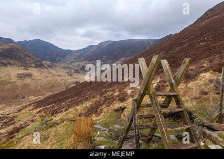 The Summits of Cadair Idris and Craig Cwm Armarch viewed from the path that leads up to Mynydd Moel - Stock Photo