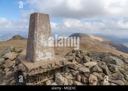 A view from the trig point on Cadair Idris to the summit of Mynydd Moel in the Snowdonia National Park - Stock Photo