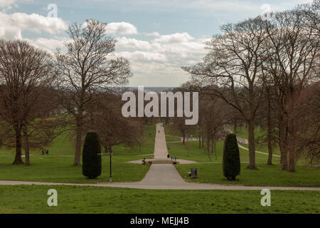 View from the mansion down towards Roundhay Park Lake - Stock Photo