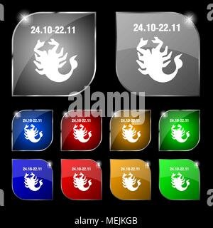 Scorpio icon sign. Set of ten colorful buttons with glare. Vector illustration - Stock Photo
