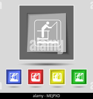 fishing icon sign on original five colored buttons. Vector illustration - Stock Photo