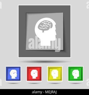 Brain icon sign on original five colored buttons. Vector illustration - Stock Photo