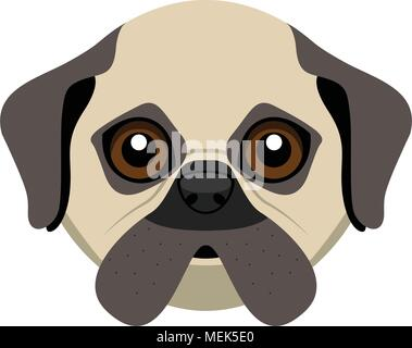Cute pug dog avatar - Stock Photo