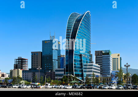 The modern city centre with the International Commercial Center, the Blue Sky Hotel and the Sheraton, at Sukhbataar Square, Ulaanbaatar, Mongolia - Stock Photo