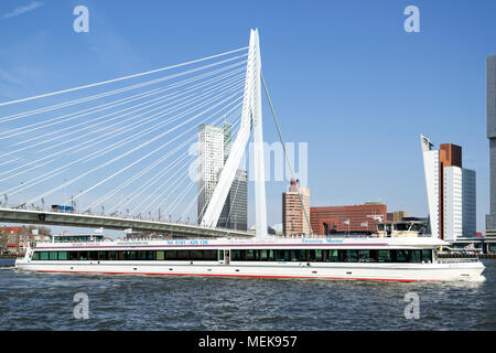 party boat MARLINA on the river Nieuwe Maas in Rotterdam, Netherlands - Stock Photo