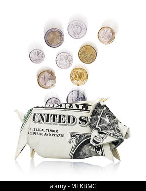 Coins of different countries fall in a piggy bank made from dollar, isolated on white background - Stock Photo