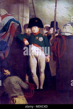 Napoleon Bonaparte on Board the 'Bellerophon' in Plymouth by Charles Lock Eastlake. Napoleon in the uniform of the Chasseurs, standing at the gangway of HMS Bellerophon, his right elbow leaning on the bulwarks. Bonaparte had surrendered to Captain Frederick Lewis Maitland of the Bellerophon and been transported to England. - Stock Photo