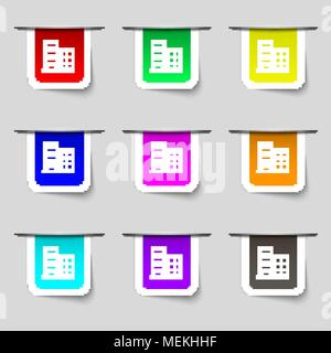 high-rise commercial buildings and residential apartments icon sign. Set of multicolored modern labels for your design. Vector illustration - Stock Photo