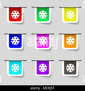 snowflake icon sign. Set of multicolored modern labels for your design. Vector illustration - Stock Photo