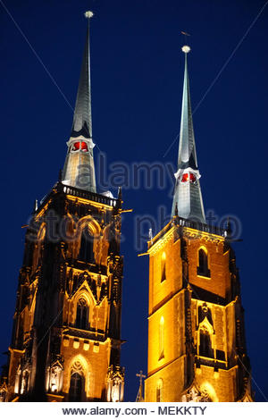 beautiful cathedral in wroclaw, catholic church in Poland - Stock Photo