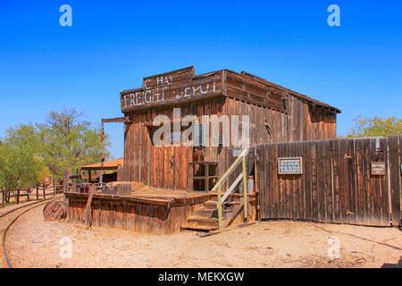 Cowboy Film set building at the Old Tucson Film Studios amusement park in Arizona - Stock Photo