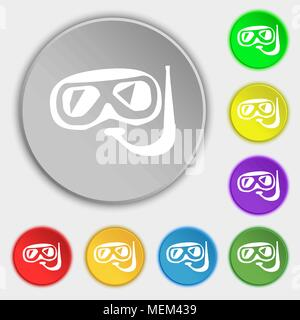 Diving icon sign. Symbol on eight flat buttons. Vector illustration - Stock Photo