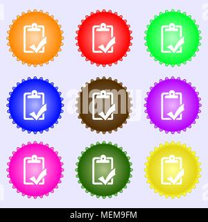Document grammar control, Test, work complete icon sign. Big set of colorful, diverse, high-quality buttons. Vector illustration - Stock Photo