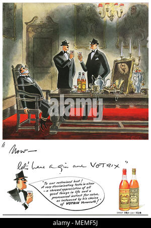 1949 British advertisement for Votrix vermouth fortified wine. - Stock Photo
