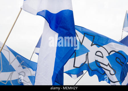 GLASGOW, SCOTLAND -SEPTEMBER 14th 2014: Two Saltire flags with the word 'YES' on it at the BBC Scotland HQ. - Stock Photo