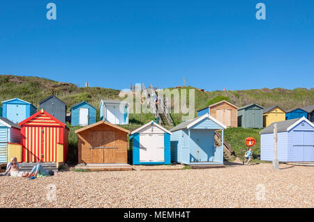 Beach view with colourful wooden huts, Hordle Cliff West, Milford-on-Sea, Hampshire, England, United Kingdom - Stock Photo