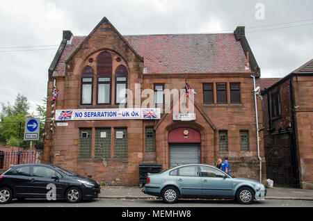 GLASGOW, SCOTLAND -SEPTEMBER 14th 2014: The pro-union Blue Star social club showing their support for the No campaign for the 2014 Scottish Referendum - Stock Photo