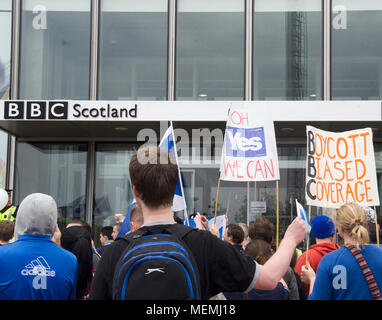 GLASGOW, SCOTLAND -SEPTEMBER 14th 2014: A crowd of protesters outside the BBC Scotland HQ. For their bias coverage of the Scottish Referendum 2014. - Stock Photo