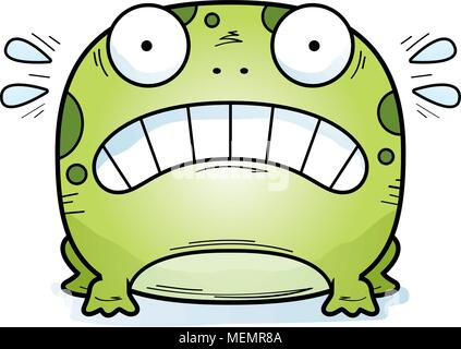A cartoon illustration of a frog looking scared. - Stock Photo