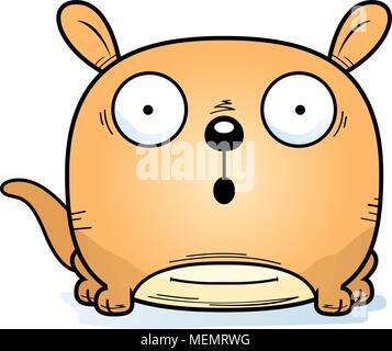 A cartoon illustration of a little kangaroo looking surprised. - Stock Photo