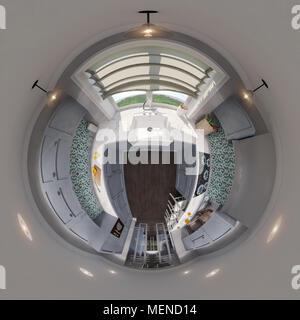 3d illustration spherical 360 degrees, seamless panorama of kitchen interior design. Modern studio apartment in the Scandinavian minimalist style - Stock Photo