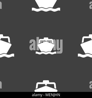 the boat icon sign. Seamless pattern on a gray background. Vector illustration - Stock Photo