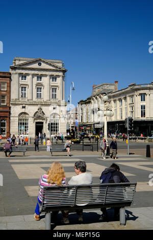 The wide open spaces in Southport on Lord Street - Stock Photo