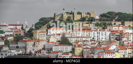 Castle of Saint George and the historical centre of Lisbon - Stock Photo