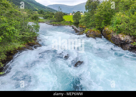 riverscape of the valley Oldedalen, whitewater near Olden at the Nordfjorden, Norway, municipality Stryn, Sogn og Fjordane county - Stock Photo