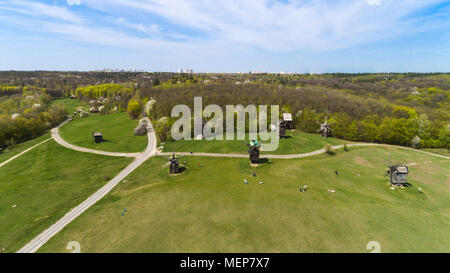 Aerial view over traditional Ukrainian village in spring, Pirogovo, KIev - Stock Photo