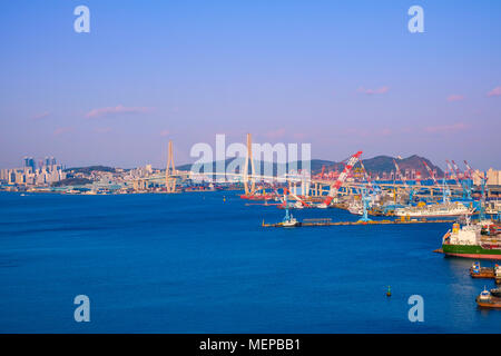 Aerial view of Busan port, South Korea. - Stock Photo