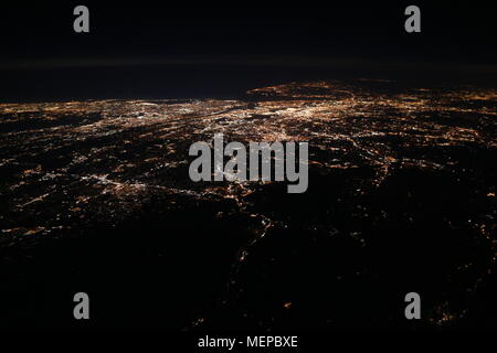 Megacity from Above during Night: New York City - Stock Photo