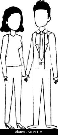 business couple avatars characters - Stock Photo