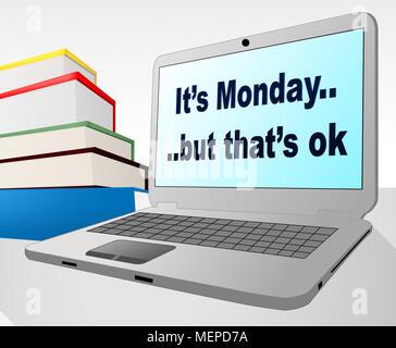 Happy Monday Quotes Morning Sunrise Scene 3d Illustration Stock