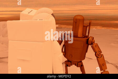 two astronauts and a retrostyled robot AI assistant on the Mars - Stock Photo