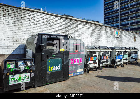Recycling Bins in Shoreditch, near Old Street Roundabout - Stock Photo