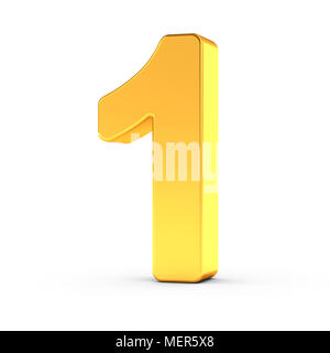 The number one as a polished golden object over white background with clipping path for quick and accurate isolation. - Stock Photo
