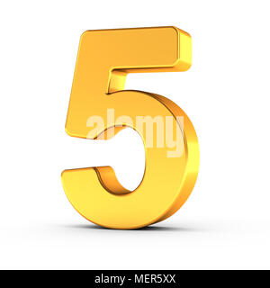 The number five as a polished golden object over white background with clipping path for quick and accurate isolation. - Stock Photo