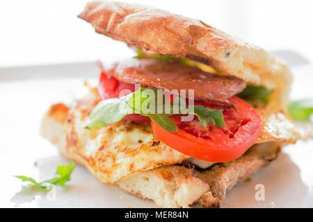 Egg and bacon Burger - Stock Photo