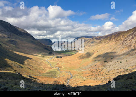 View of Warnscale Bottom and Lake Buttermere taken during ascent of Haystacks, Lake District, Cumbria, England, UK - Stock Photo