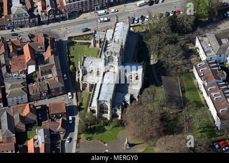 aerial view of St Marys Church in Beverley town centre, East Yorkshire - Stock Photo