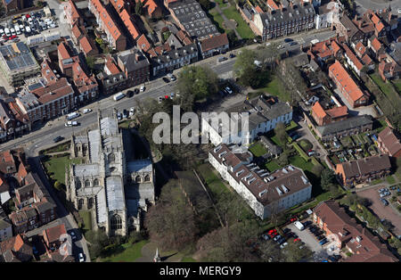 aerial view of St Marys Manor in Beverley town centre, East Yorkshire - Stock Photo