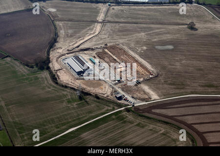 aerial view of a new development, possibly a small power station , near Cottingham, East Yorkshire - Stock Photo