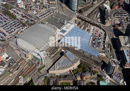 aerial view of Manchester Arena & Manchester Victoria Station - Stock Photo