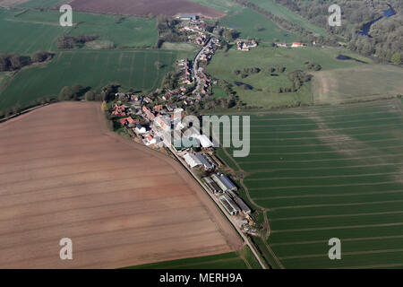aerial view of Hutton Conyers village near Ripon, North Yorkshire - Stock Photo