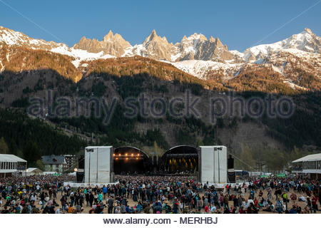 Sunset over MUSILAC Mont-Blanc festival in Chamonix (France) - 21 april 2018 - Stock Photo
