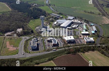 aerial view of STFC Daresbury Laboratory, Warrington, Cheshire - Stock Photo