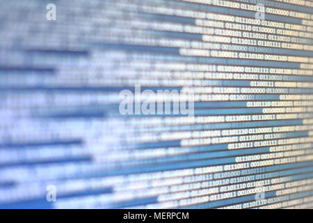 Abstract Technology data stream concepts. moving white blue binary code on black display screen. - Stock Photo